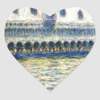 The Palazzo Ducale by Claude Monet Heart Sticker