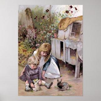 """""""The Pet Rabbit"""" Vintage Poster"""