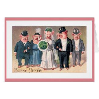 The Pig's Wedding Vintage Illustration Card