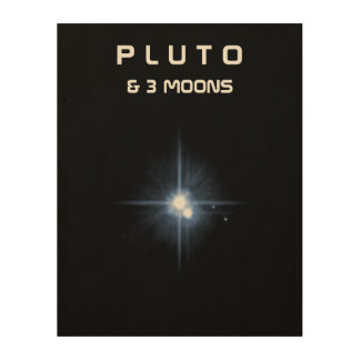 The Planet Pluto & 3 Moons Wood Prints