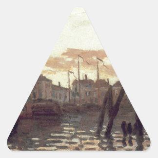 The Port at Zaandam by Claude Monet Triangle Sticker