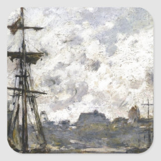 The Port, Fecamp by Eugene Boudin Square Sticker