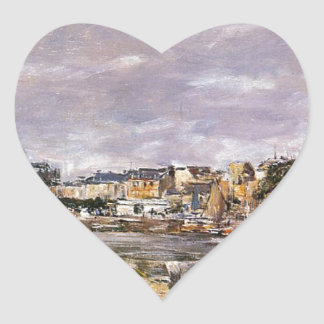 The Port of Trouville by Eugene Boudin Heart Sticker
