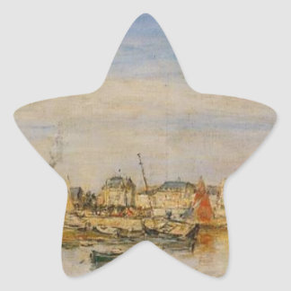 The Port of Trouville by Eugene Boudin Star Sticker