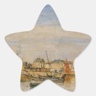 The Port of Trouville by Eugene Boudin Star Sticker