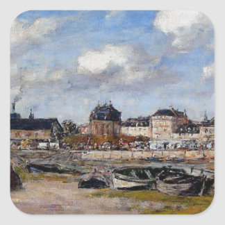 The Port of Trouville, Low Tide by Eugene Boudin Square Sticker