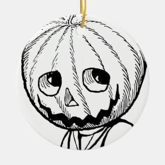 The Pumpkin Head Round Ceramic Decoration