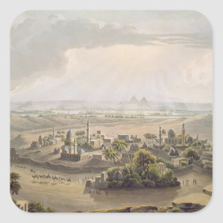 The Pyramids at Cairo, engraved by Daniel Havell ( Square Sticker