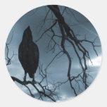 The Raven - Nevermore Sunbeams & Tree Blue Round Sticker