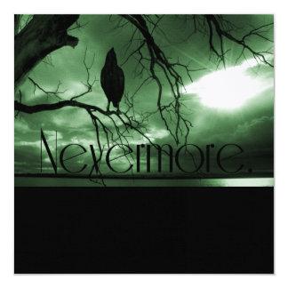 "The Raven - Nevermore Sunbeams Tree - Green 5.25"" Square Invitation Card"