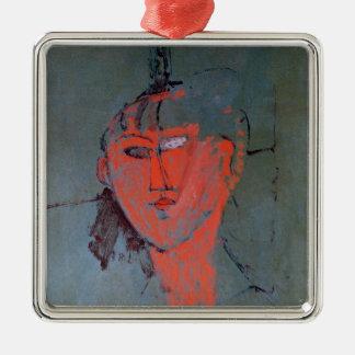 The Red Head, c.1915 Silver-Colored Square Decoration