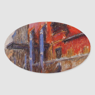 The Red House by Claude Monet Oval Sticker