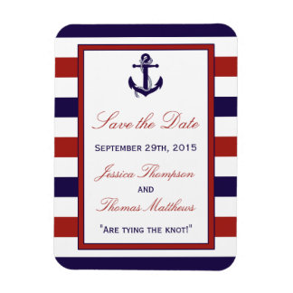 The Red & Navy Nautical Anchor Wedding Collection Rectangular Photo Magnet