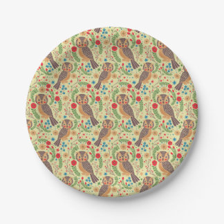 The Retro Horned Owl 7 Inch Paper Plate