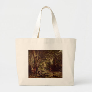 The Return of the Deer to the Stream at Plaisir Fo Large Tote Bag