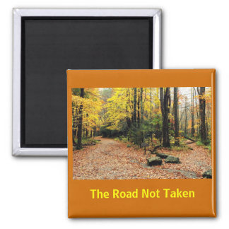 The Road Not Taken In A Yellow Wood Square Magnet