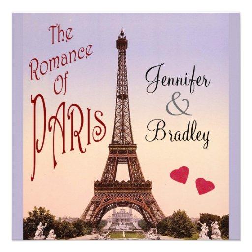 The Romance of Paris ~ Vintage Wedding Personalized Invitation