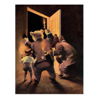 The Roosevelt Bears as The Teddy Bear Detectives Postcard