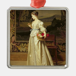 The Rose Basket (oil on panel) Silver-Colored Square Decoration