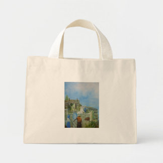 The Rose. Cottage with flower garden Mini Tote Bag