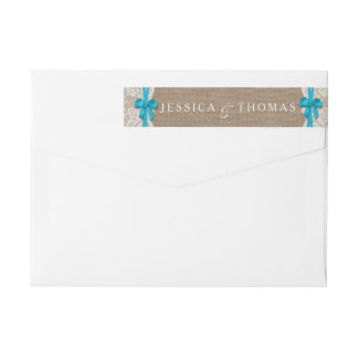 The Rustic Blue Bow Wedding Collection Labels