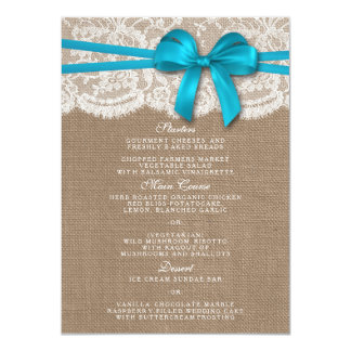 The Rustic Blue Bow Wedding Collection Menu Card