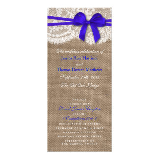 The Rustic Blue Bow Wedding Collection Programs Customised Rack Card