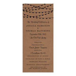 The Rustic Kraft String Lights Wedding Collection Customized Rack Card