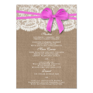 The Rustic Pink Bow Wedding Collection Menu Card