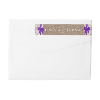 The Rustic Purple Bow Wedding Collection Labels