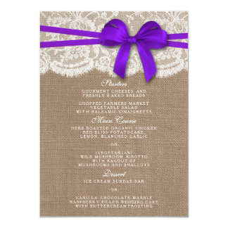 The Rustic Purple Bow Wedding Collection Menu Card