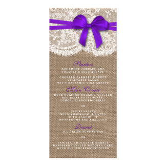 The Rustic Purple Bow Wedding Collection Menu Card Rack Cards