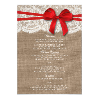 The Rustic Red Bow Wedding Collection Menu Cards