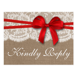 The Rustic Red Bow Wedding Collection RSVP Postcard