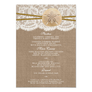 The Rustic Sand Dollar Wedding Collection Menu Card