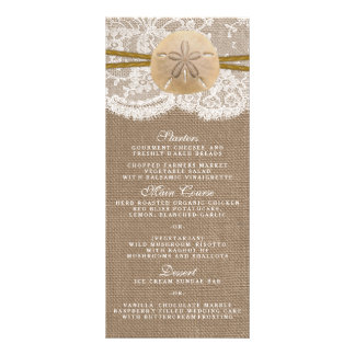 The Rustic Sand Dollar Wedding Collection Menu Full Color Rack Card