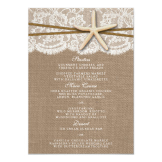 The Rustic Starfish Wedding Collection Menu Cards