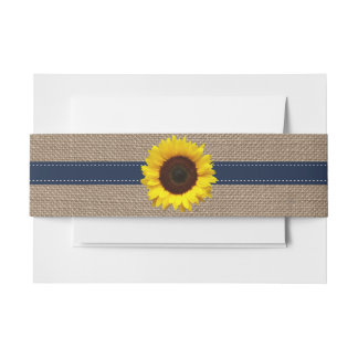 The Rustic Sunflower Wedding Collection - Navy Invitation Belly Band