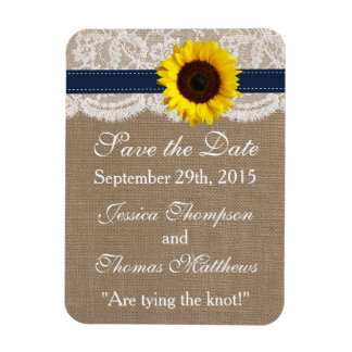 The Rustic Sunflower Wedding Collection - Navy Rectangular Photo Magnet
