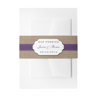 The Rustic Sunflower Wedding Collection - Purple Invitation Belly Band