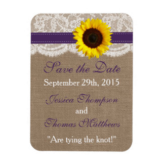 The Rustic Sunflower Wedding Collection - Purple Rectangular Photo Magnet