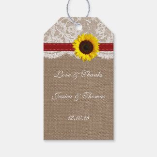The Rustic Sunflower Wedding Collection - Red Gift Tags