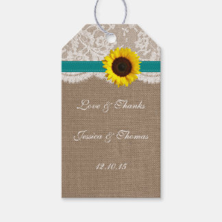 The Rustic Sunflower Wedding Collection - Teal Gift Tags