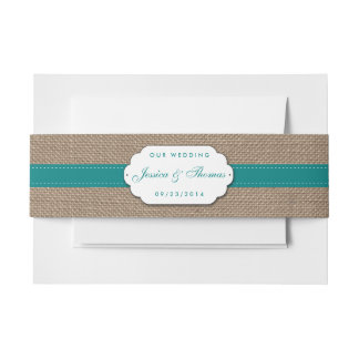 The Rustic Sunflower Wedding Collection - Teal Invitation Belly Band