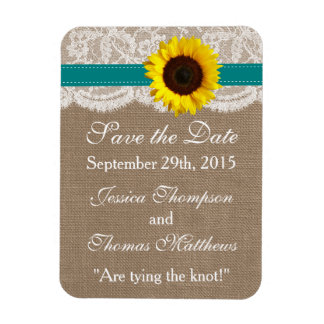 The Rustic Sunflower Wedding Collection - Teal Rectangular Photo Magnet