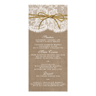The Rustic Twine Bow Wedding Collection - Menu Full Color Rack Card