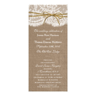 The Rustic Twine Bow Wedding Collection - Programs Full Color Rack Card