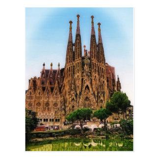 The Sagrada Familia, Barcelona, Spain (Painted) Postcard