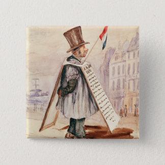 The Sandwich Board Man, Boulevard du Temple, 1839 15 Cm Square Badge