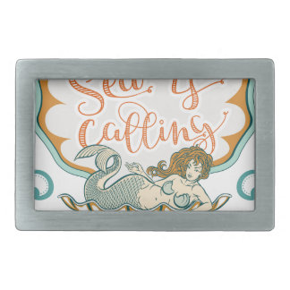 The sea is calling and I must go Rectangular Belt Buckles
